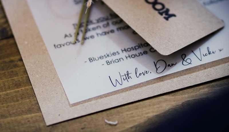Dan Vicki Wyresdale Park Wedding invite